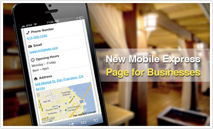 Jimdo's new Mobile Express Page