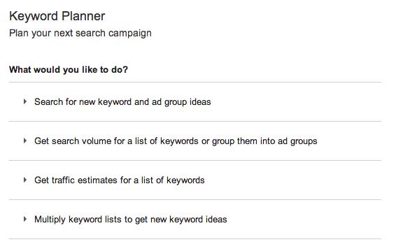Keyword Planner Homepage