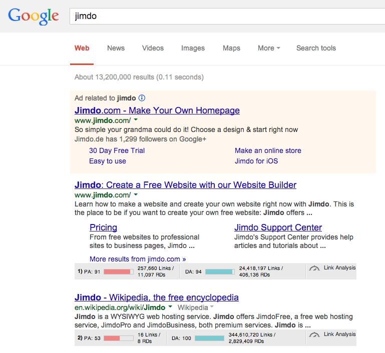 MozBar in Google Search