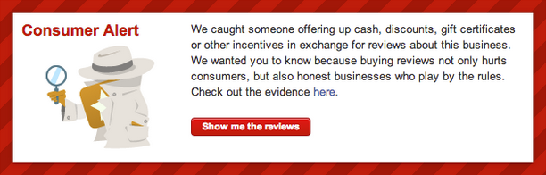 Example of a Yelp consumer alert