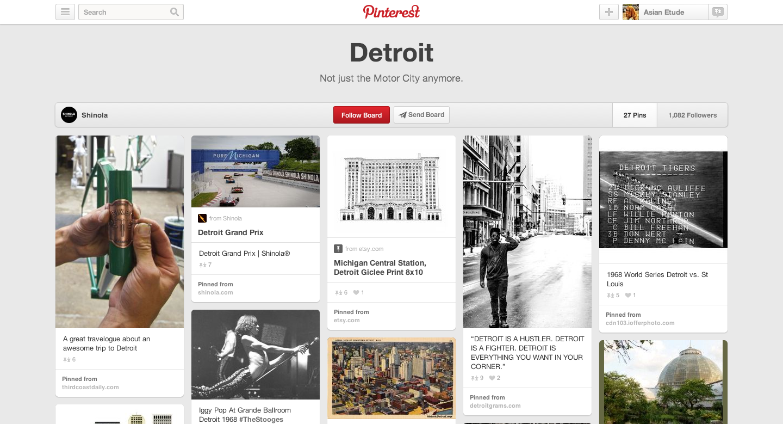 Shinola's Detroit board on Pinterest