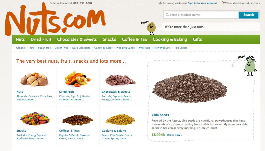 Nuts.com has cute talking nuts as mascots.