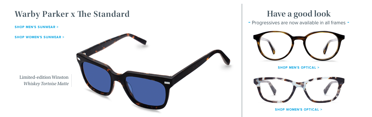 The next section of the Warby Parker homepage