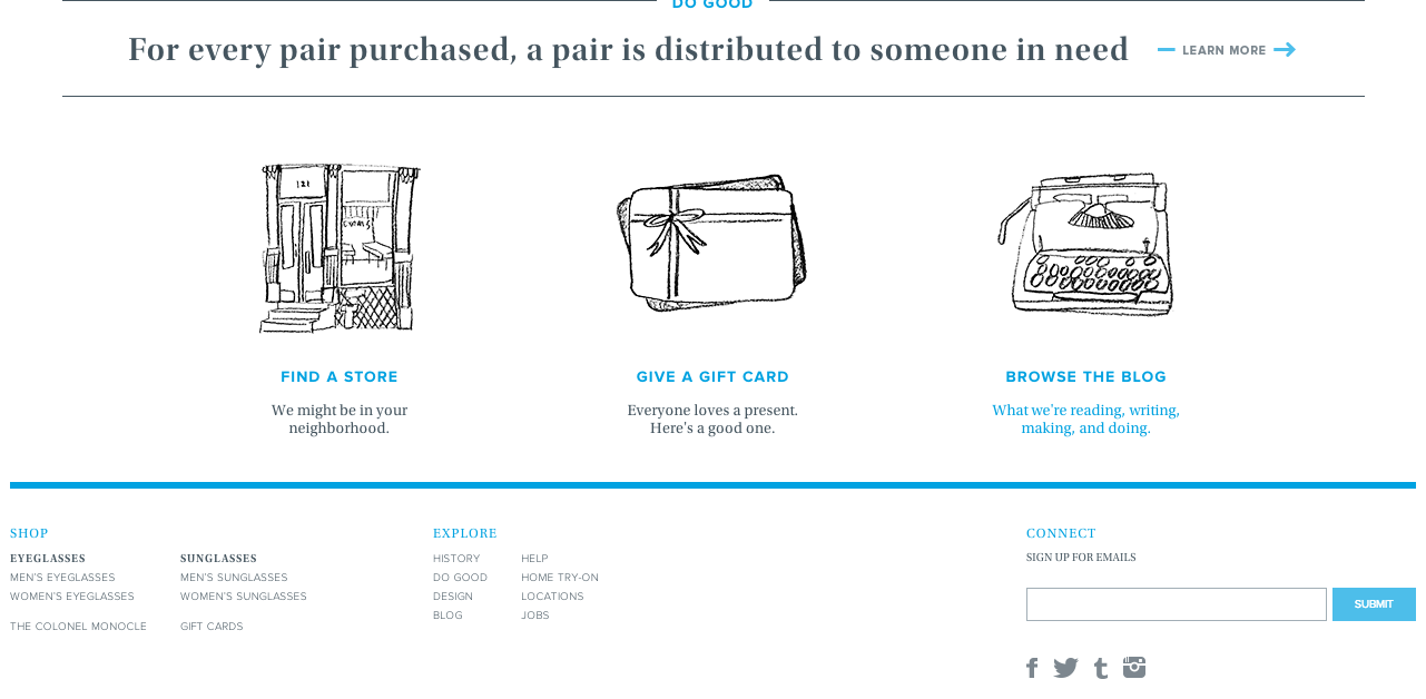 The bottom of the Warby Parker homepage.