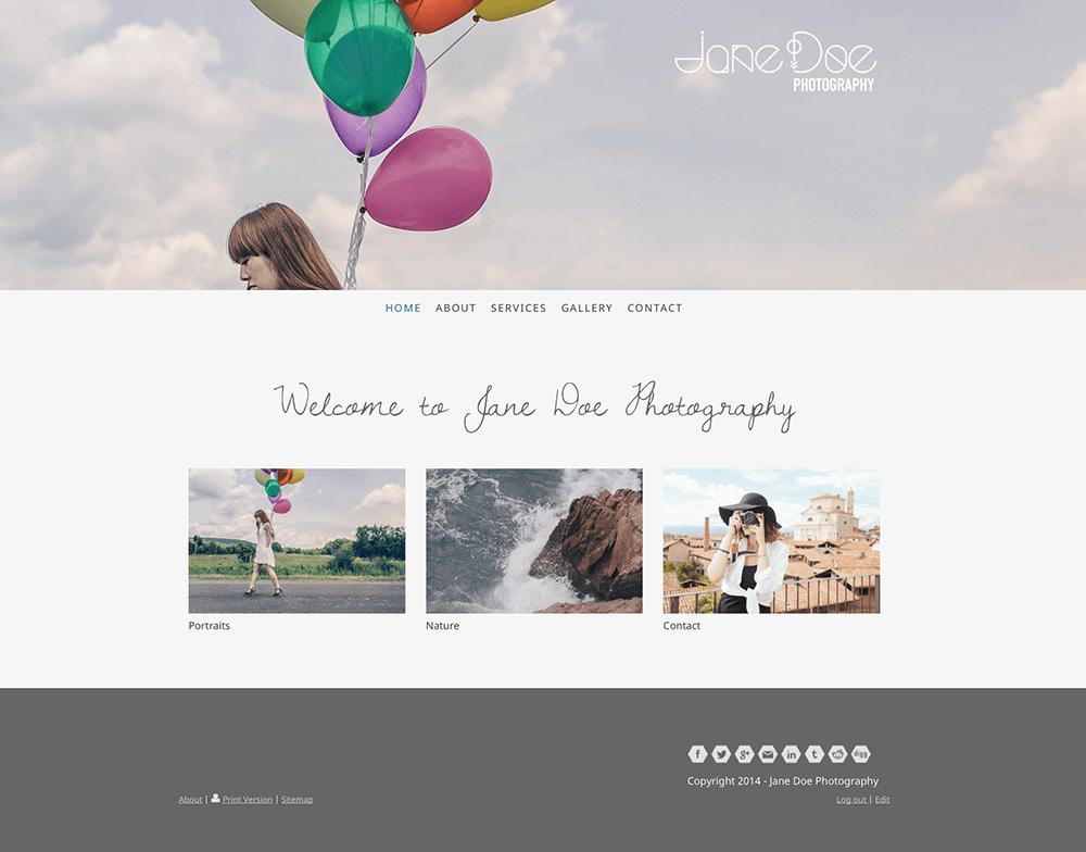 Jane Doe Photography website after redesign