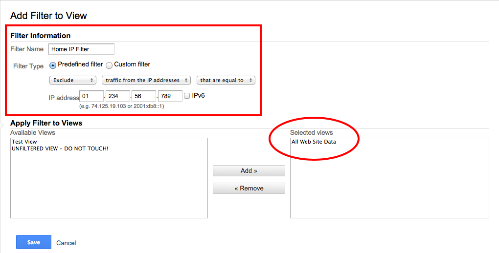 Home IP Filter for Google Analytics