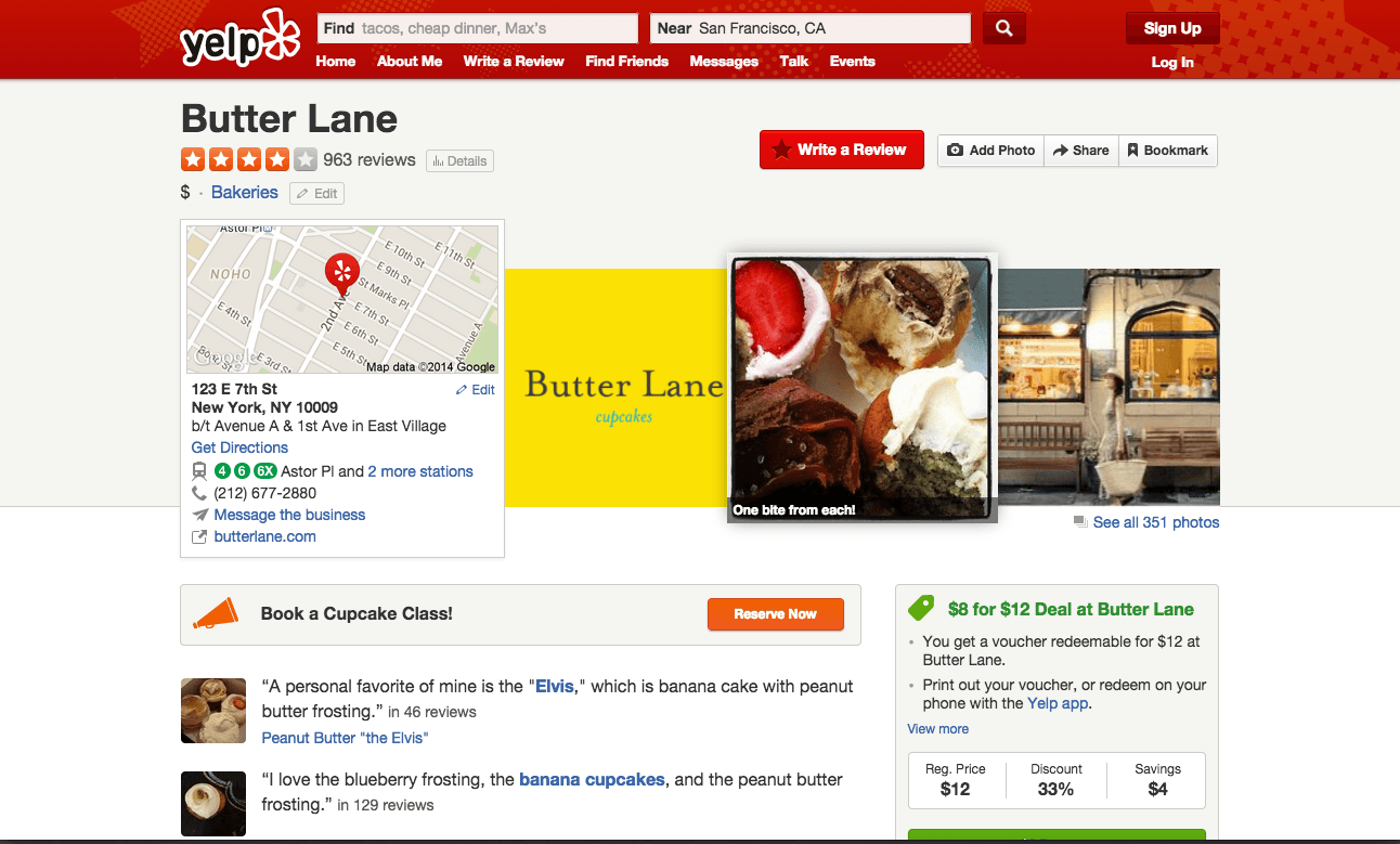 Butter Lane Bakery's Yelp profile has photos and a Yelp Deal for customers in the lower right corner.