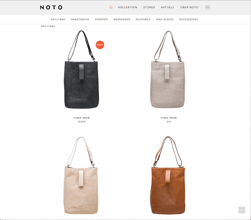 Noto website using white space