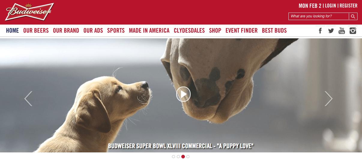 Budweiser's website today