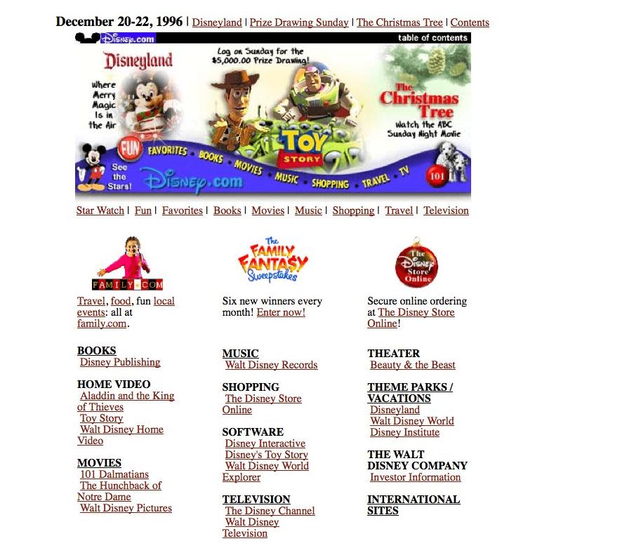Disney's website from 1996.