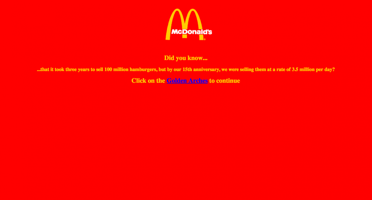McDonald's website from the '90s