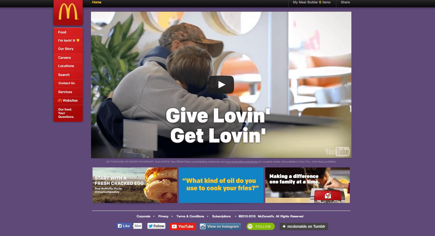 McDonald's website today