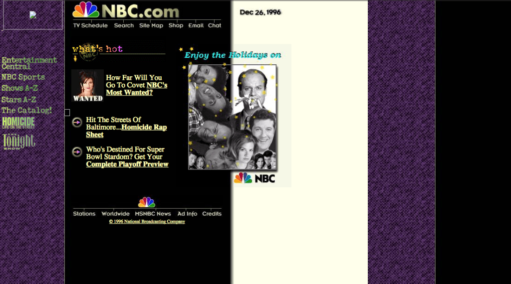 NBC's website from 1996