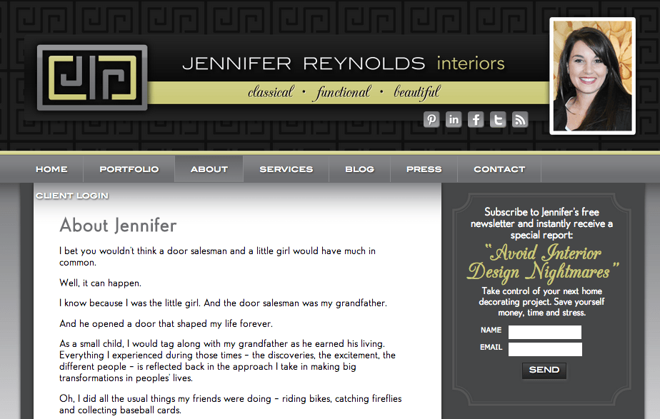Jennifer Reynolds website inspiration