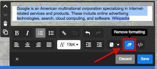 Click on the Remove formatting button