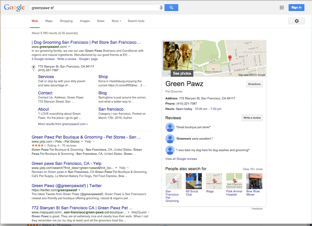 An example of a Google Business Listing showing up in search results.