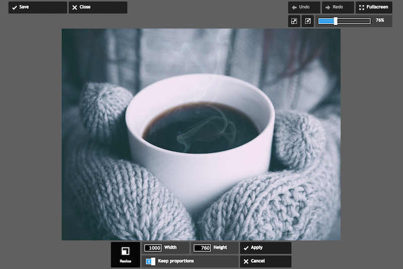 How to change an image size using Pixlr
