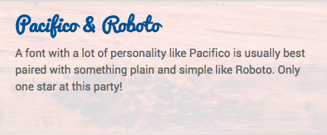 Contrast: Pacifico paired with Roboto