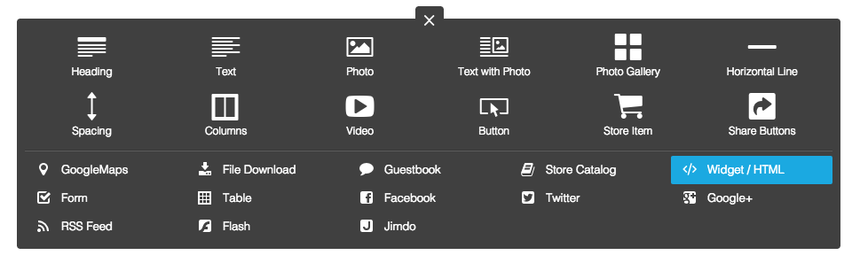 Adding a widget element to your Jimdo website to embed a Spotify playlist
