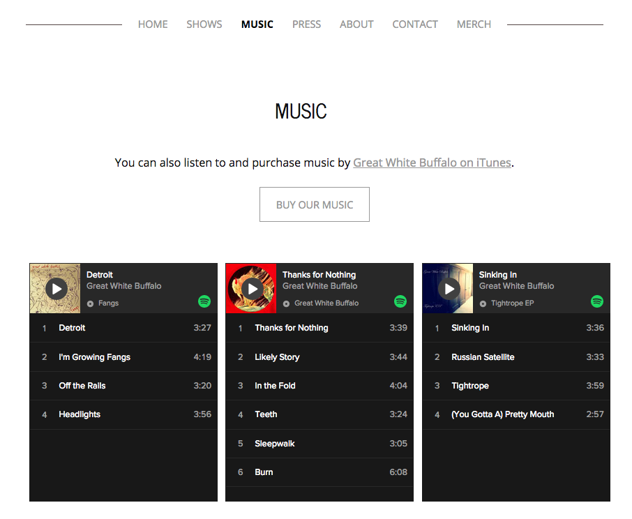 How a Spotify widget will appear on a website