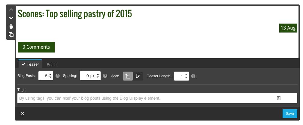 Blog teaser settings