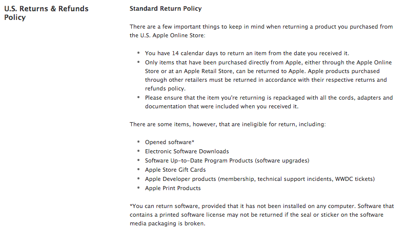 Image: Apple Standard Return Policy
