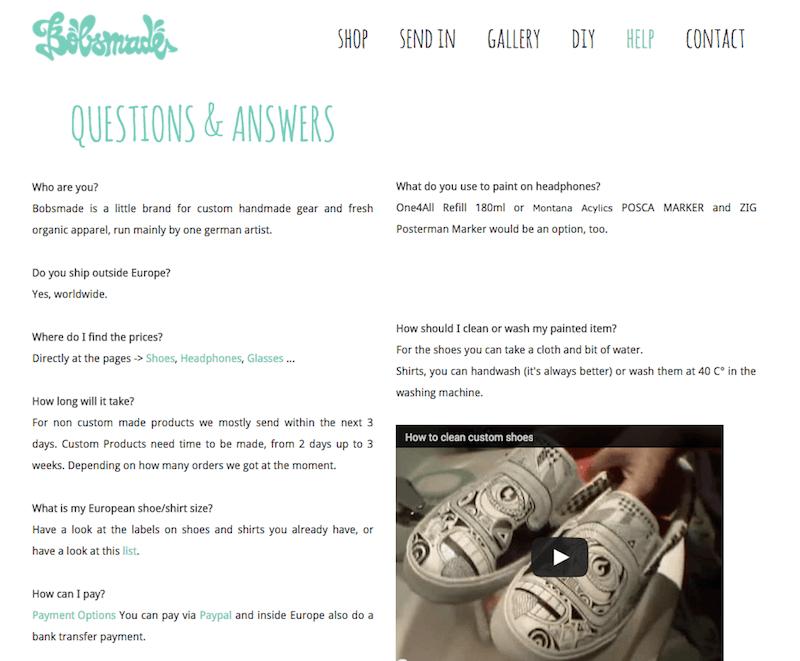 FAQ from Bobsmade