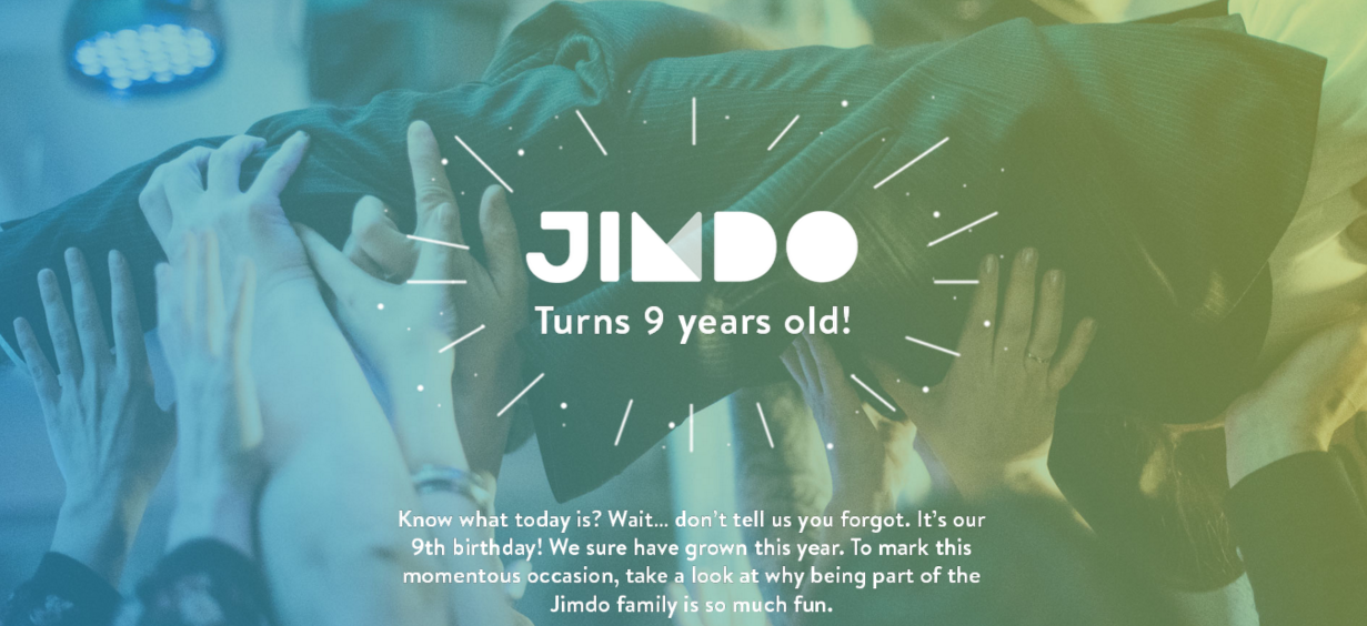 This links to an interactive post with fun facts about Jimdo