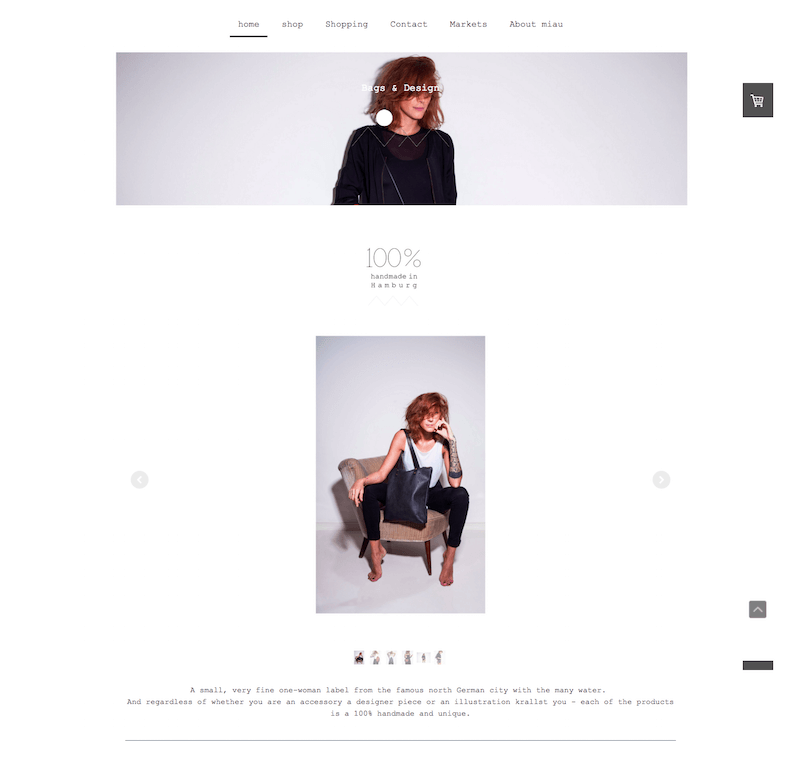 Jimdo website example with Miami Template